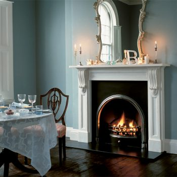 Chesneys Buckingham fireplace with the Ornate Arch register grate