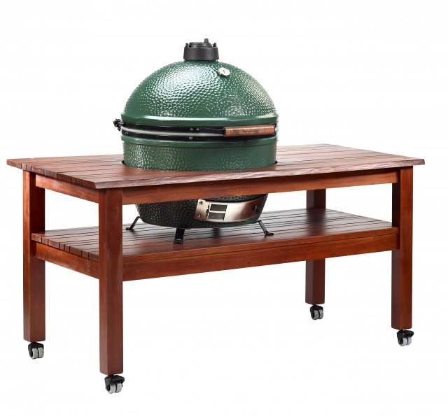 Big Green Egg Table Hardwood Multi Slat XL With Caster Wheels Main