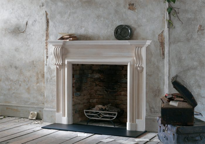 Chesneys Durham fireplace with the Caxton freestanding fire basket