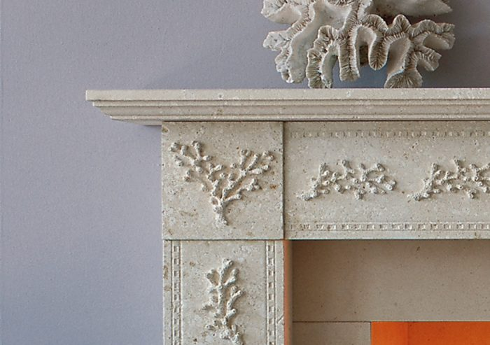 Chesneys Coral fireplace by Jane Churchill