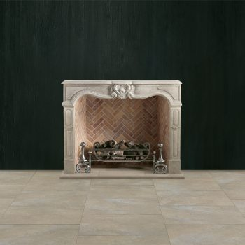 Chesneys Provencale fireplace with the Tyndale fire basket for dogs, Bevan andirons and Herringbone brick interior panels