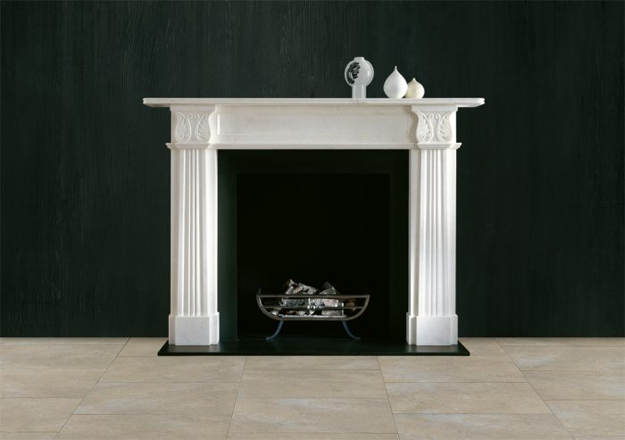 Chesneys Acanthus fireplace with the Baird freestanding fire basket