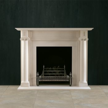 Chesneys Fairfax fireplace with the Dorchester fire basket in steel