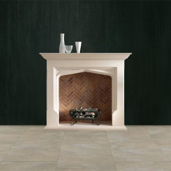 Chesneys Elizabethan fireplace with the Ducksnest freestanding fire basket and Herringbone brick interior panels