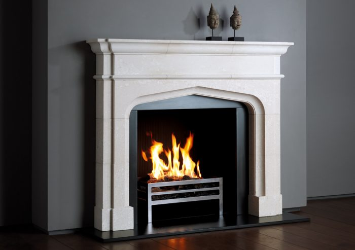 Chesneys Greenwich fireplace with the Soho freestanding fire basket and Reeded fibre interior panels