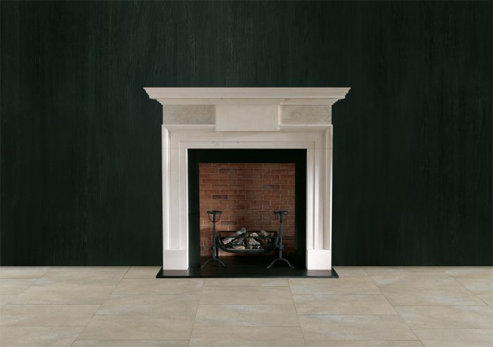 Chesneys Repton fireplace with the Ducksnest fire basket for dogs in black, Mulling fire dogs and Regular brick interior panels