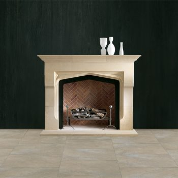 Chesneys Shelburne fireplace with the Baird fire basket for dogs and Ballhead fire dogs