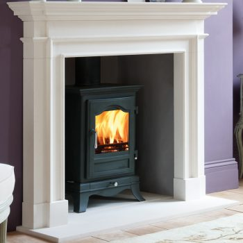 Chesneys Belgravia 6 series multi-fuel stove in Sage Green with the Burlington fireplace