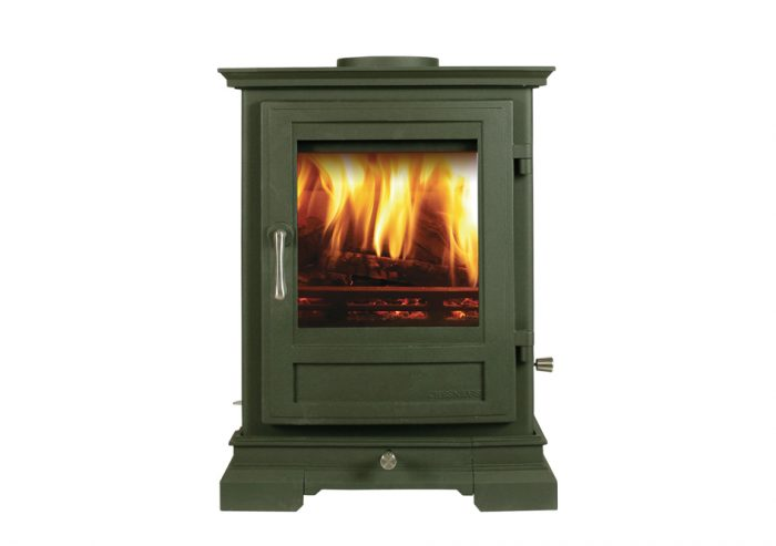 Chesneys Shipton 6 series multi-fuel stove in Sage Green