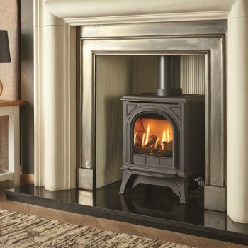 Stovax & Gazco Huntingdon 20 gas stove with matt black and clear door