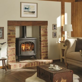 Stovax & Gazco Huntingdon 40 gas stove with matt black finish and tracery door