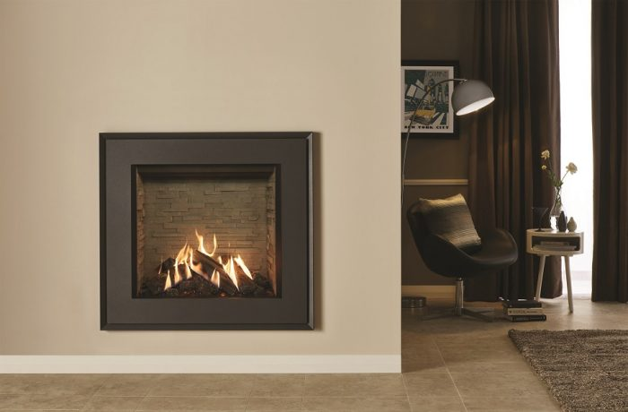 Stovax & Gazco Reflex 75T Evoke Steel gas fire with ledgestone effect lining