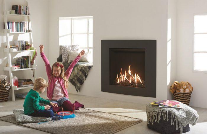 Stovax & Gazco Reflex 75T Verve XS graphite gas fire with black reeded lining