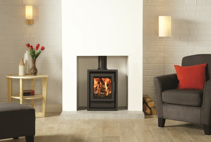 Stovax & Gazco Riva F40 Freestanding wood burning stove in metallic black