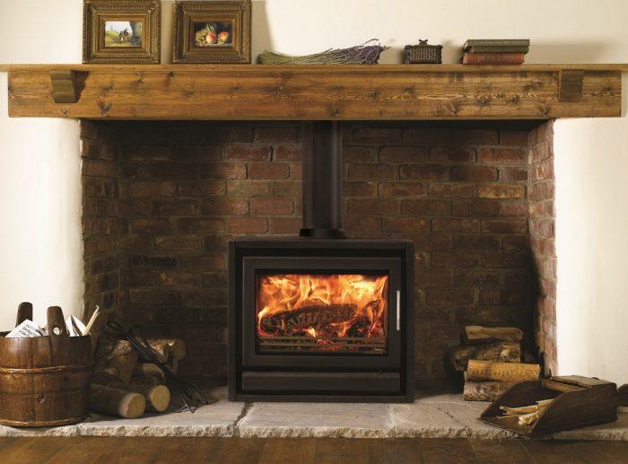 Stovax & Gazco Riva F66 Freestanding wood burning stove in metallic black