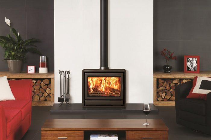 Stovax & Gazco Riva F76 Freestanding wood burning stove in metallic black