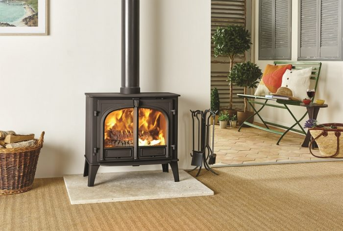 Stovax & Gazco Stockton 11 wood burning stove in matt black with flat top and two doors