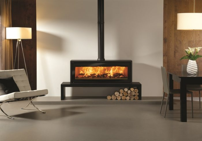 Stovax & Gazco Studio 3 Freestanding wood burning stove on low bench