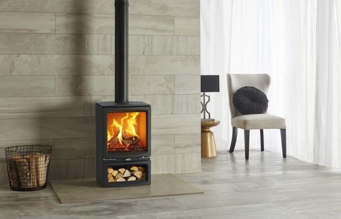 Stovax & Gazco Vogue Medium wood burning stove with optional midline base