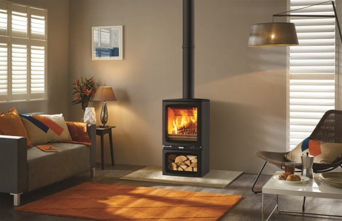 Stovax & Gazco Vogue Midi wood burning stove with optional midline base