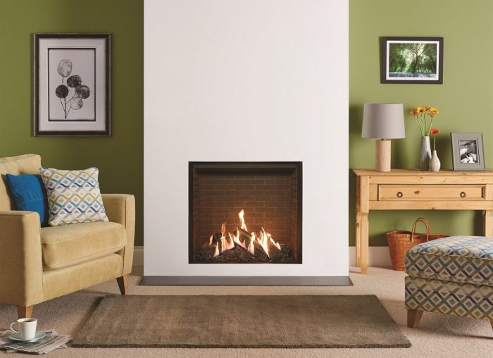 Stovax & Gazco Reflex 75T Edge gas fire with brick effect lining