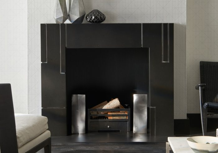 Chesneys Jack fireplace by Kelly Hoppen with Cooper fire dogs