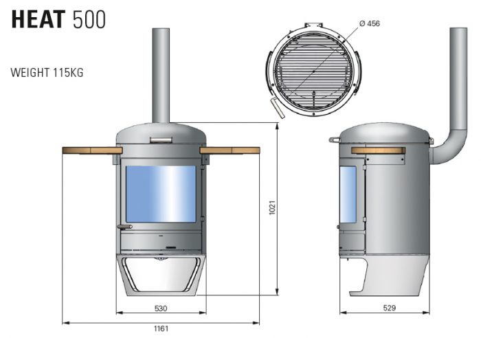 Chesneys HEAT Collection BBQ barbeque heater 500 diagram measurements