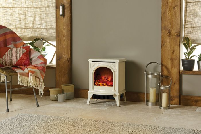 Stovax & Gazco Huntingdon 20 ivory enamel electric stove with clear door