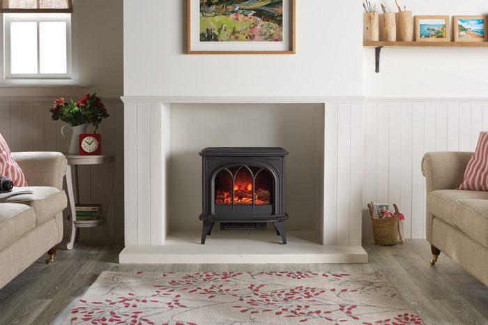 Stovax & Gazco Huntingdon 40 matt black electric stove with tracery door