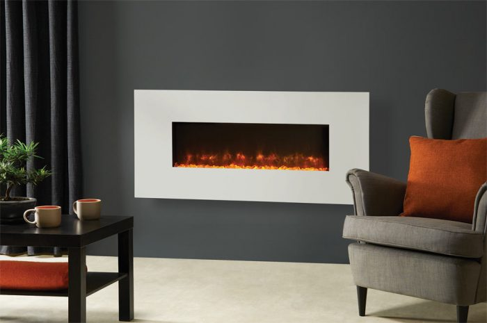 Stovax & Gazco Radiance 100W Matt Ivory Steel electric fire with clear crushed glass effect