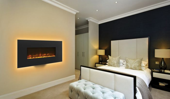 Stovax & Gazco Radiance 80W graphite steel semi-recessed electric fire