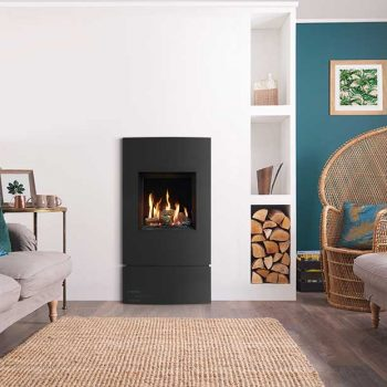 Stovax & Gazco Riva2 400 Verve XS black glass gas fire