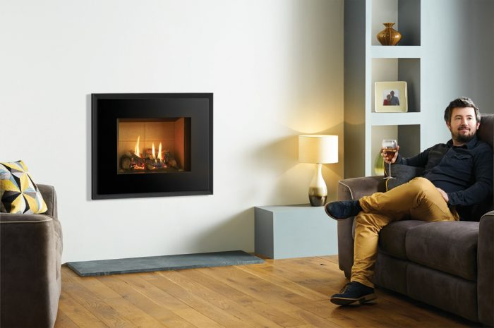 Stovax & Gazco Riva2 500 Evoke glass gas fire, graphite finish, vermiculite lining
