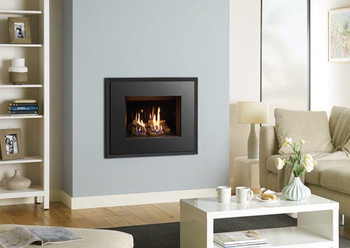 Stovax & Gazco Riva2 500 Evoke steel gas fire, graphite finish, with black glass lining