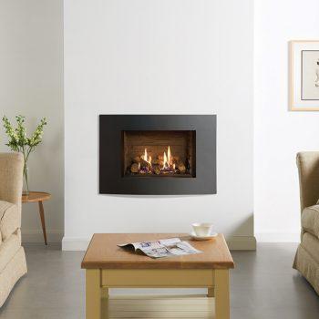 Stovax & Gazco Riva2 500 Verve XS gas fire, graphite finish with ledgestone effect lining
