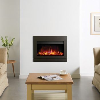 Stovax & Gazco Riva2 670 Designio2 steel electric fire with graphite finish