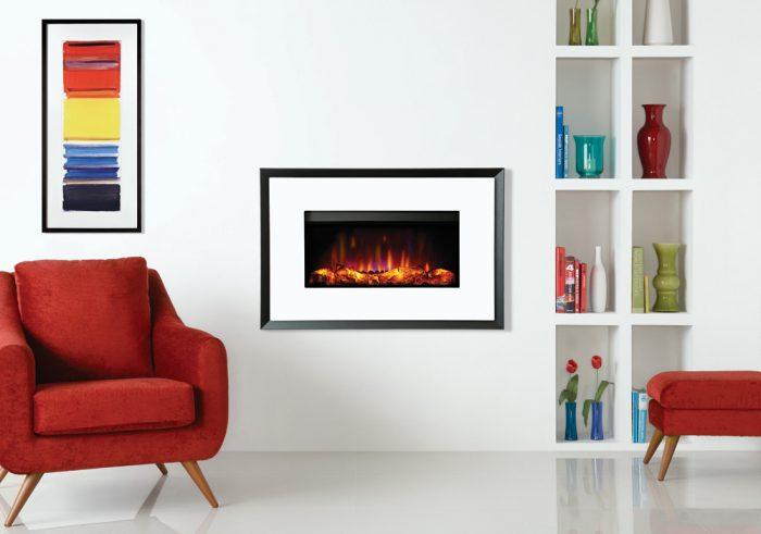 Stovax & Gazco Riva2 670 Evoke White Glass graphite rear electric fire