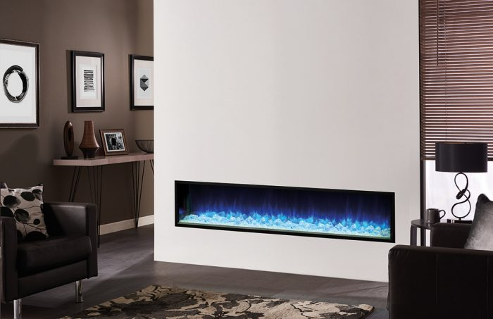 Stovax & Gazco Skope inset 195R crystal ice fuel effect electric fire