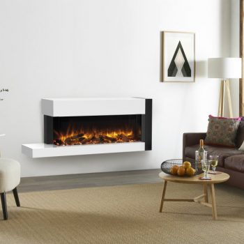 Stovax & Gazco Skope Trento Suites 110W right offset log & pebble fuel effect electric fire