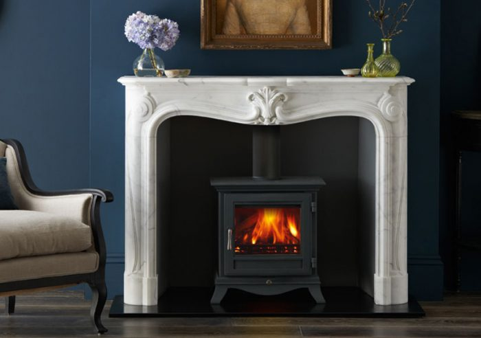 Chesneys La Rochelle fireplace with Beaumont 5 series wood burning stove in Black Anthracite