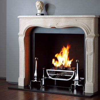 Chesneys Sorbonne fireplace with the Morris fire basket for dogs and Burton andirons