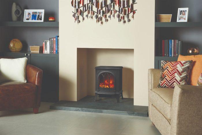 Stovax & Gazco Huntingdon 20 matt black electric stove with tracery door