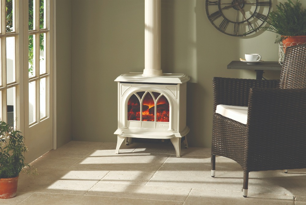 Stovax & Gazco Huntingdon 30 enamel electric stove with tracery door and decorative flue