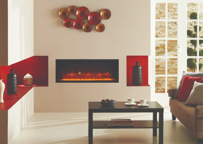 Stovax & Gazco Radiance Inset Edge 85R electric fire with clear glass beads