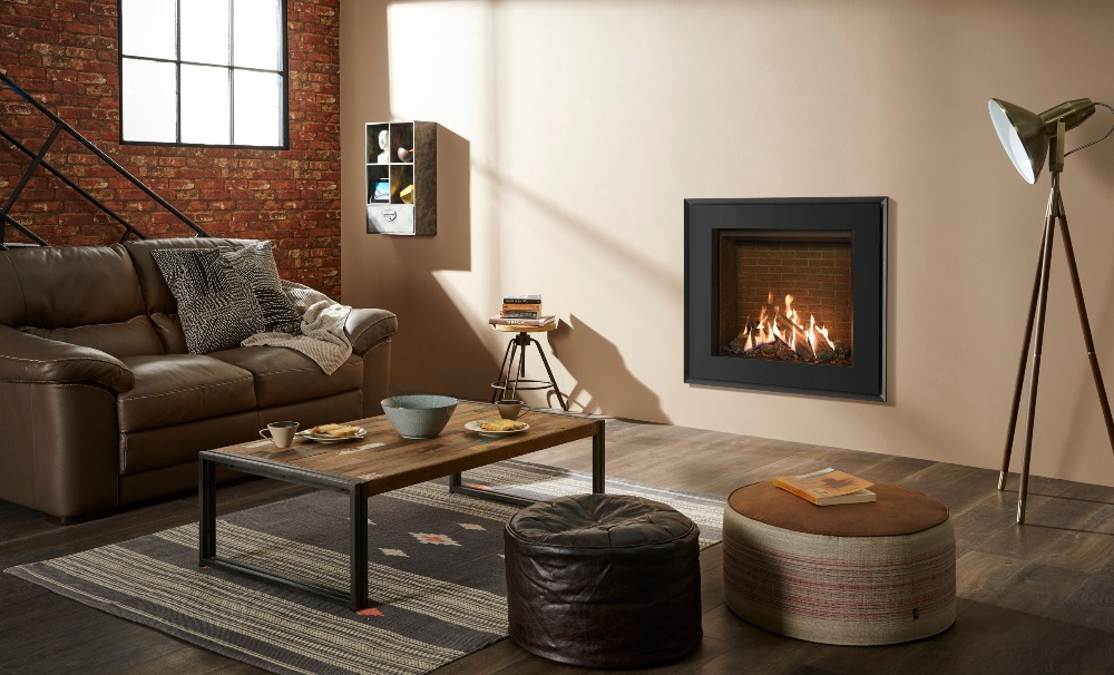 Stovax & Gazco Reflex 75T Evoke steel gas fire with brick effect lining
