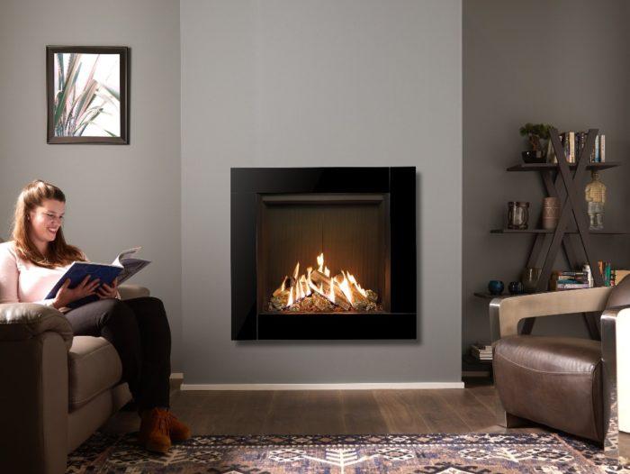 Stovax & Gazco Reflex 75T Icon XS gas fire with black reeded lining