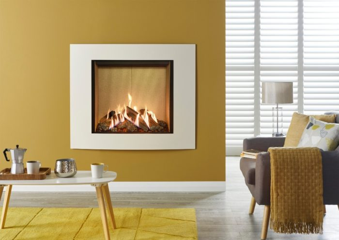 Stovax & Gazco Reflex 75T Verve XS ivory gas fire with fluted vermiculite lining