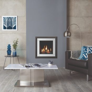 Stovax & Gazco Riva2 400 Evoke XS white glass gas fire with EchoFlame black glass lining