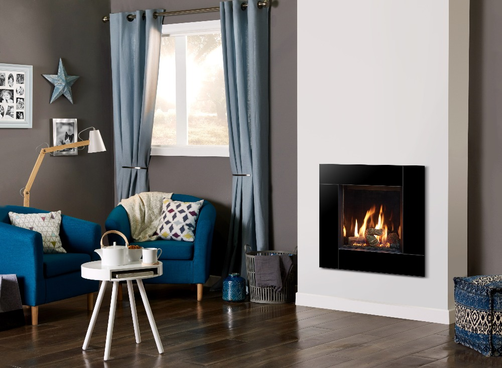 Stovax & Gazco Riva2 400 Icon XS gas fire with EchoFlame black glass lining