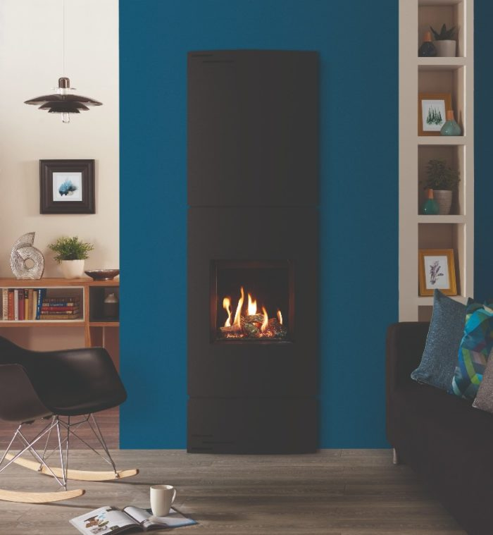 Stovax & Gazco Riva2 400 Verve XS gas fire with EchoFlame black glass lining, matching top and base
